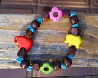 red and yellow elephants bracelet (wood+howlite)
