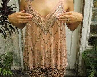 Sheer Beaded Pastel Pink Tank