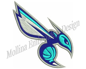 Charlotte Hornets Logo Machine Embroidery Design 4 Size