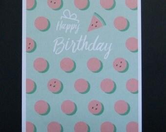 Happy Birthday card Watermelon