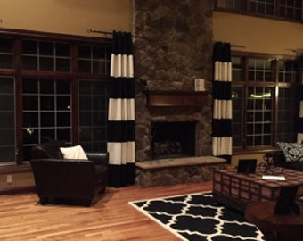 Black and White Cabana Stripe Window Treatments/ Curtains