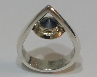 Black Diamond Solitare Ring, 925 Silver Sterling Ring, 14 K Gold Ring
