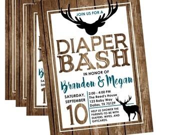 Diaper Shower Invitation, Diaper Shower Invite, Diaper Shower, Baby Shower Invitation, Diaper Party Invitation, Rustic Baby Shower Invite