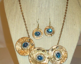 Bronze necklace and earrings