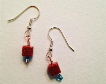 Goldstone and Blue Bead Earrings