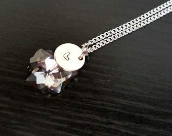 Heart-stamped Disc and Baroque Swarovski Crystal on Sterling Silver Necklace