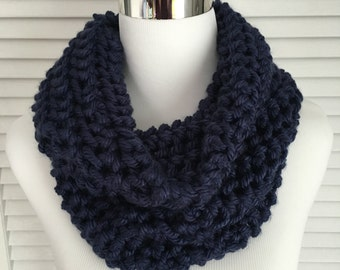 Bulky Navy Blue Knitted Infinity Cowl Scarf