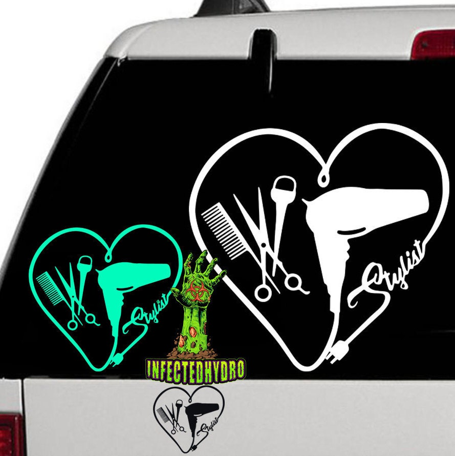 Hair Stylist Decal Blow Dryer Decal Name Decal Name - Hair stylist custom vinyl decals for car
