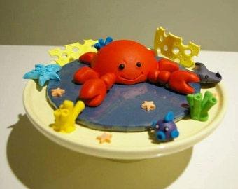 Cute crab cake topper, fondant & gumpaste