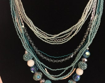 Beaded Necklace- 14 Strand- Teals