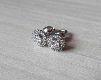 Silver stud earrings studs Vintage Screw back