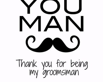 Thank you card for groomsmen