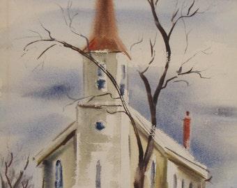 Vintage Church Watercolor
