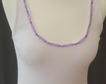 Purple Tulle ribbons & rainbow beads 14