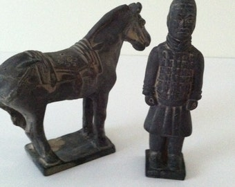Chinese pottery sculpture of warrior and horse dressed for battle/vintage/antique/ handmade/china