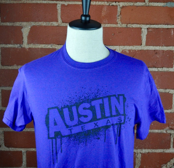 Purple and Black Austin Texas T Shirt Tee Sz M Medium