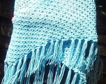 Luxurious pastel blue fringe wrap