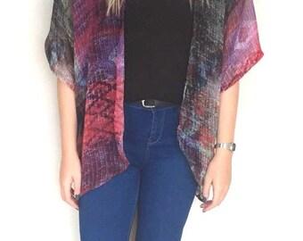 Lightweight sheer abstract print kimono