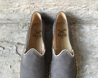 Rafiks Handmade Leather Shoes-Galata Grey (nubuck leather) with White Piping and X on Heel
