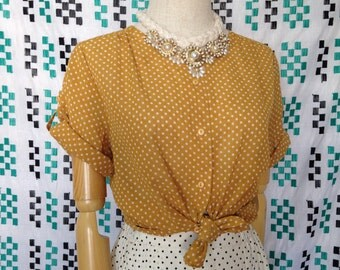 Lovely betty look white polka dot vintage blouse, mustard yellow short sleeve vintage shirt for women, 80s clothing size S-M size 6 8 10
