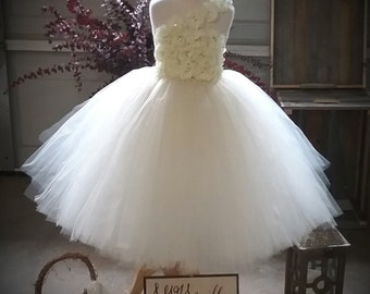 Free Shipping  to USA Custom Made Ivory Tutu Dress-Flower- One Shoulder Ivory Tutu Dress for Flower Girls Available in Sizes NB to 14yo