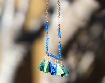 Blue beaded copper collar with tassels
