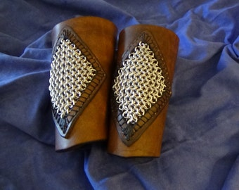 Leather and chain mail bracers