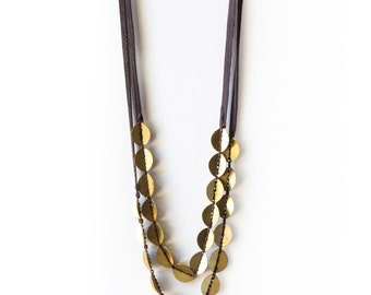 Brass Beads Necklace, Two Strings Brass Necklace, Leather and Brass Necklace