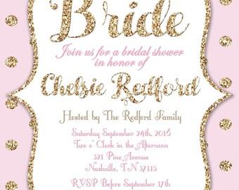 """Pink & Gold Bridal Shower Invitation - 5""""x7"""" (Digital File)"""