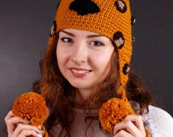 Leopard Hat, Children Hat, Adult Hat, Winter Hat, Autumn Hat, Spring Hat, Orange Hat