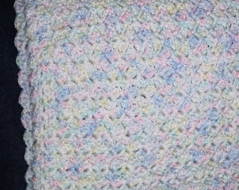 Hand crocheted white with multi-colored speckle baby blanket