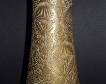Brass, Floral, Hand Engraved, Indian Vase