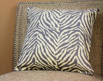 Gray Zebra Pattern Throw Pillow Cover