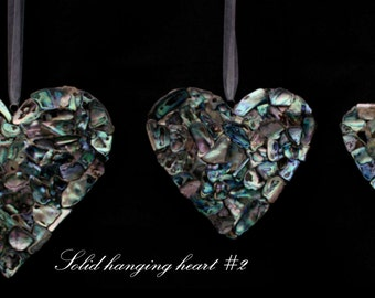 New Zealand Paua shell embellished solid hanging heart