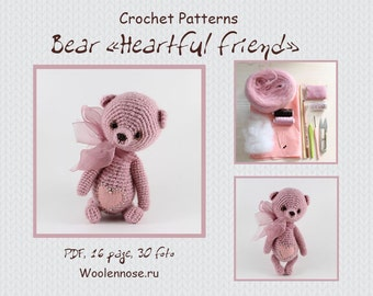"Crochet pattern bear ""Bear –Heartful friend"""
