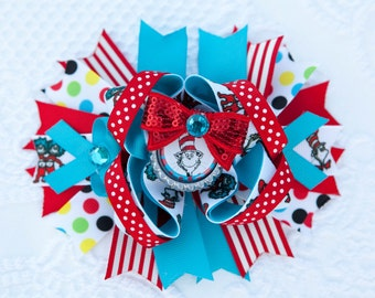 Large Cat In The Hat Dr Seuss Hair Bow