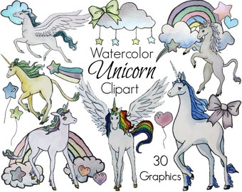 Unicorn clipart, unicorn clip art, watercolor unicorn png unicorns vector graphic horse clipart rainbow digital clip art commercial use