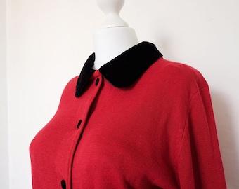 Vintage CARDIGAN | Red BLACK VELVET collar. Peter Pan collar. Rockabilly pin-up