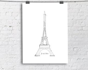 Je suis Paris Eiffel Tower Sketch Art Print, Living Room Fine Art Print, Vertical Modern Art