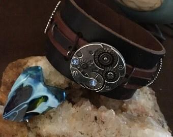 Leather Cuff Blue