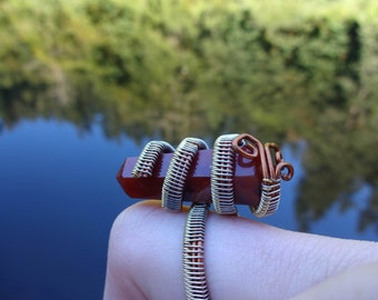 Beautiful Red Jasper Wire Wrap Ring