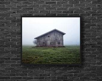 Abandoned House Photography - Old House Print - Wooden House - Empty House - Fields - Green Wall Decor - Green Photo - Abandoned Wall Decor