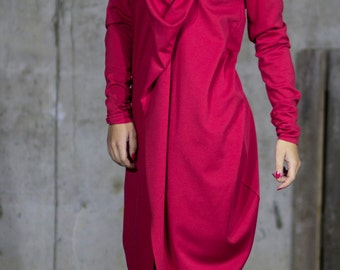 Waterfall Evening Red Dress | Elegant Full Sleeve Dress | Cowl Neck Dress | Smart Casual Dress by Silvia Monetti
