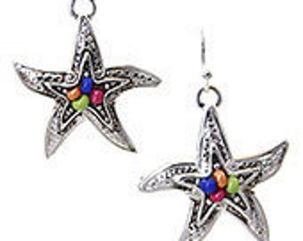 Starfish, Seed Beaded Earrings