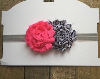 Pink Black and White Flower Baby Headband