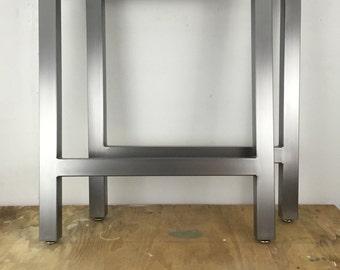Brushed Metal Table Legs H-Frame Set of 2