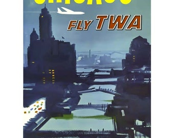 Chicago Travel Poster - Vintage Travel Print Art - Home Decor - Chicago, Illinois