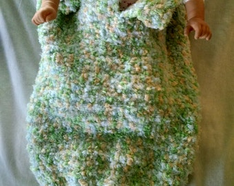 Green/Yellow/Light Blue Snuggly Baby Cocoon/Sleep Sack and Matching Hat