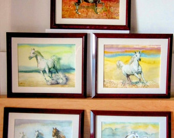 Original Watercolour Horse Collection, Set of 5 Watercolour Paintings on Paper