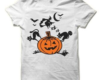 Fun Halloween Shirt. Pumpkin Witch Black Cat T Shirt.
